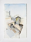 Tiles Drawings - Rooftops of Rome by Marie BernardJames
