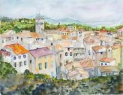 European City Mixed Media - Rooftops of Viviers by Nancy Brennand