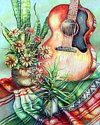 Gibson Guitar Drawings Posters - Room For Guitar Poster by Linda Shackelford