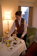 Photography Of Lamps Photos - Room Service Breakfast At A Hotel by Taylor S. Kennedy