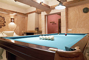 Pocket Billiards Prints - Room With a Billiard Table Print by Magomed Magomedagaev