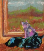 Red Art Pastels Prints - Room With A View Print by Frances Marino