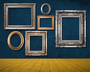 Gold Mixed Media Framed Prints - Room With Frames Framed Print by Atiketta Sangasaeng