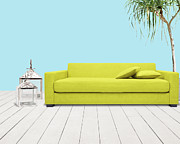Living Room Mixed Media Posters - Room With Green Sofa Poster by Atiketta Sangasaeng