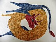 Gond Art Art - rOOndeer by Nankushiya Jangarh Singh Shyam