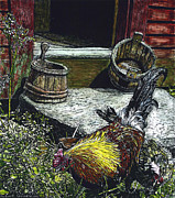 Barrels Mixed Media Posters - Rooster and a Hen Poster by Robert Goudreau