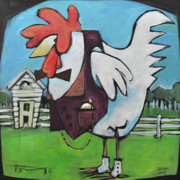 Humor Paintings - Rooster and Hen House by Tim Nyberg