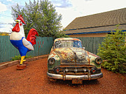 Windshield Digital Art - Rooster and the Car by Ron Regalado