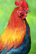 Watercolour Portrait Posters - Rooster Poster by Cherilynn Wood