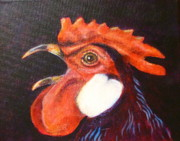 Barn Yard Prints - Rooster Crowed at Midnight Print by Sherrill Hull