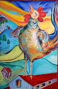 Landscape-like Art Paintings - Rooster Crows -- Joy Arising by Gloria Avner