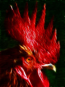 Chicken Digital Art Posters - Rooster - Electric Poster by Wingsdomain Art and Photography