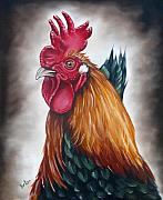 Rooster Art - Rooster head by Ilse Kleyn