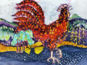 Colorful Fabric Tapestries - Textiles Metal Prints - Rooster in the Morning Metal Print by Carol  Law Conklin