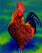 Blue Tail Framed Prints - Rooster Framed Print by John  Nolan