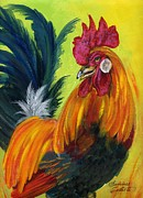 Summer Celeste Metal Prints - Rooster Kary Metal Print by Summer Celeste
