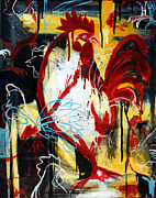 Abstract Expressionist Prints - Rooster Print by Leanne Wilkes