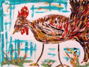 Expressionist Drawings - Rooster Man  by Mary Carol Williams