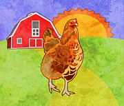 Barnyard Digital Art Posters - Rooster Poster by Mary Ogle