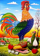 Serbian Painting Originals - Rooster on bread by Zoran Zaric