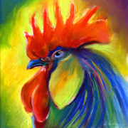 Bright Pastels Posters - Rooster painting Poster by Svetlana Novikova