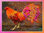 Cross Breed Prints - Rooster Peacock Print by John Breen