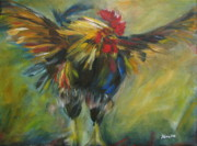 Rooster Kitchen Art Prints - Rooster with Attitude Print by Alina Vidulescu