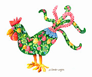 Rooster With Flair Print by Arline Wagner
