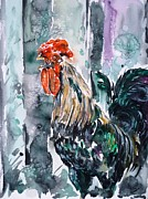 Cock Paintings - Rooster  by Zaira Dzhaubaeva