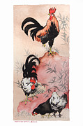 E Black Framed Prints - Roosters and Hens Sumi-e Style Framed Print by Nancy Pahl