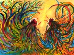 Multicolor Paintings - Roosters Frienship by Fanny Diaz