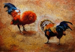 Canvas Mixed Media Originals - Roosters  Scene by Juan Jose Espinoza