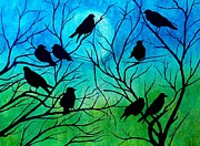 Blackbirds Painting Posters - Roosting Birds Poster by Susan DeLain