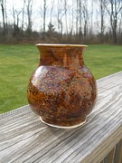 Indoor Ceramics Metal Prints - Root Beer Vase Metal Print by Monika Hood
