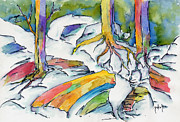Winter Scene Paintings - Roots And Rocks by Pat Katz