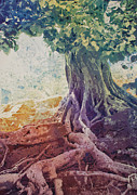 Tree Roots Painting Posters - Roots Poster by Anne McCartney