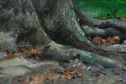 Tree Roots Painting Posters - Roots Poster by Linda Eades Blackburn