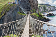 Carrick-a-rede Posters - Rope Bridge at Carrick-a-Rede in Northern Island Poster by Semmick Photo