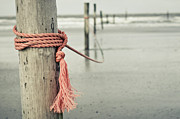 Wooden Post Framed Prints - Rope In Wind On Coast Of  German Island Norderney Framed Print by Jakob Tertel