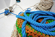 Strength Metal Prints - Rope stack on boat deck Metal Print by Sami Sarkis
