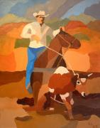 Roping Horse Paintings - Roper by Lowell Smith