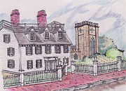 Old Houses Drawings - Ropes Mansion Salem MA by Paul Meinerth