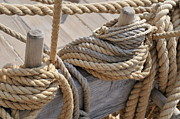 Cleat Prints - Ropes on wooden sailboat upper deck Print by Sami Sarkis