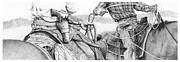 Cowboy Sketches Prints - Ropin Print by Jack Schilder
