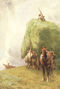 Roping Horse Paintings - Roping the Wagon by Henry H Sands