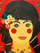 Red Cheeks Posters - Rosa with the rosy cheeks Poster by Viva La Vida Galeria Gloria