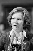Microphones Prints - Rosalynn Carter Testifies Before Senate Print by Everett