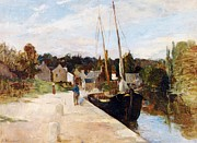 Boats On Water Prints - Rosbras in Brittany Print by Berthe Morisot