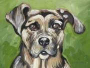 Mutt Drawings - Roscoe by Outre Art  Natalie Eisen