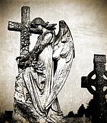 Gothic Cross Posters - Roscommon Angel No 1 Poster by Teresa Mucha